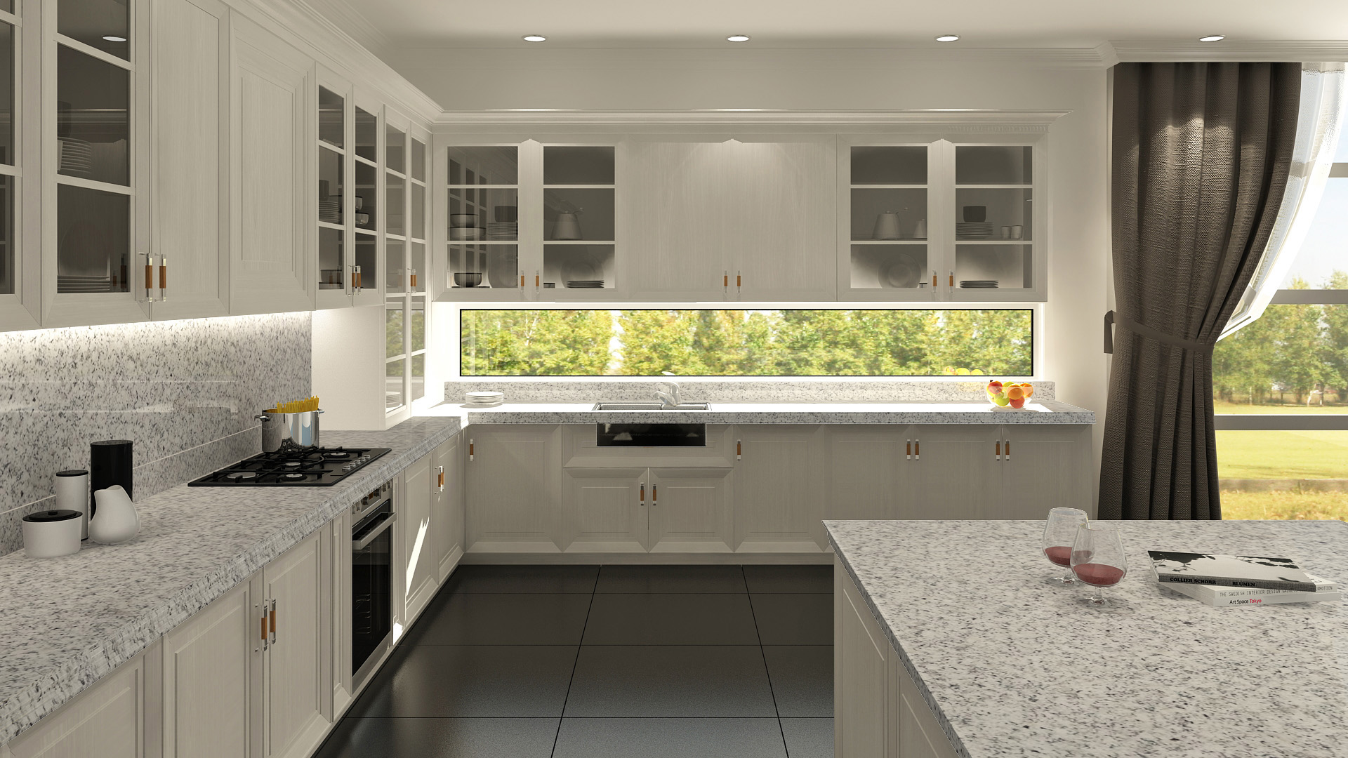 Mesadas de granito gris mara para cocina mesadas baremes for Cocinas de granito precio