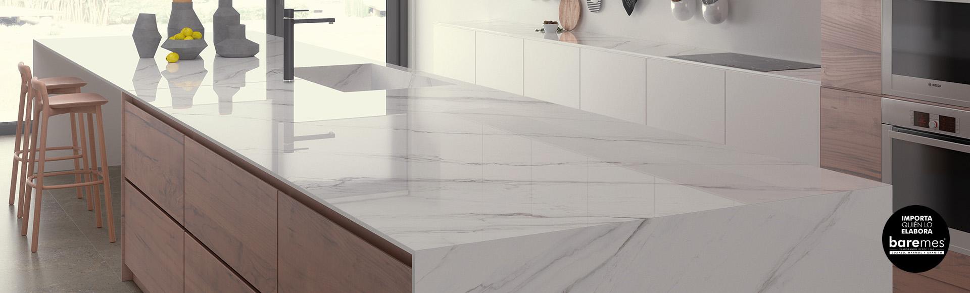 Mesa barras desayunador isla para cocina moderna mesadas for Granito blanco real